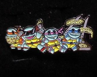 Squirtle Squad Pizza Time Pokemon Teenage Mutant Ninja Turtles Hat Pin