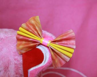 Medium Duck Tape Bow *Orange Pink Tie Dye*