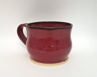 Hand Crafted Stoneware Mug - Deep Pink with Black Speckles - Wheel Thrown Ceramic Mug - Pottery - Coffee Mug - Handmade Mug - Speckled Mug