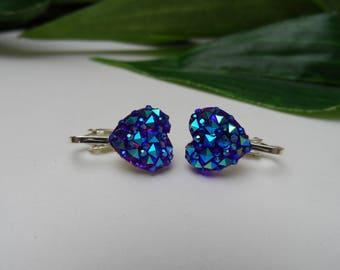 Girls Purple Sparkle Heart Rhinestone Clip on Earrings, heart earrings, purple heart earrings, clip on earrings, bridal clip on earrings