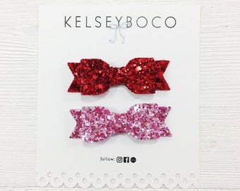 Set of 2 Small Bow Clips (Custom Color Options)