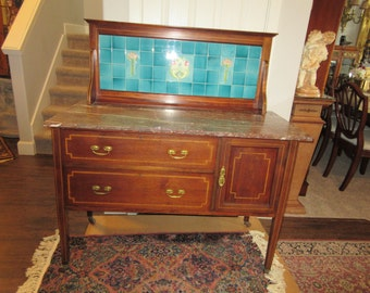 ANTIQUE WASHSTAND with Art Nouveau Tile Back Splash