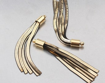 2PCS Gold,Black chain tassel with round cab for earrings, pendant / SE013GP
