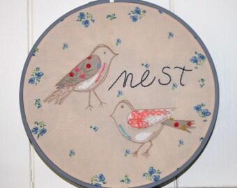 embroidery hoop art nest