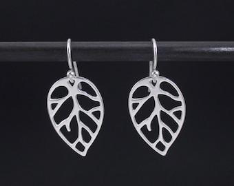Leaf Earrings Sterling Silver Leaf Dangle Drop Earrings, Openwork Leaf Earrings, Nature Earrings, Nature Jewelry