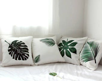 Leaf Pillow Cover, Monstera Leaf Pillow Cover, Palm Leaf Pillow, Tropical leaf cushion 16X16