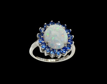 Fire Opal Classic Ring 10X12 Oval Blue Sapphire Accents .925 Sterling Silver Size 7 1/2