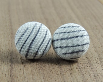Grey lines on white fabric button earrings