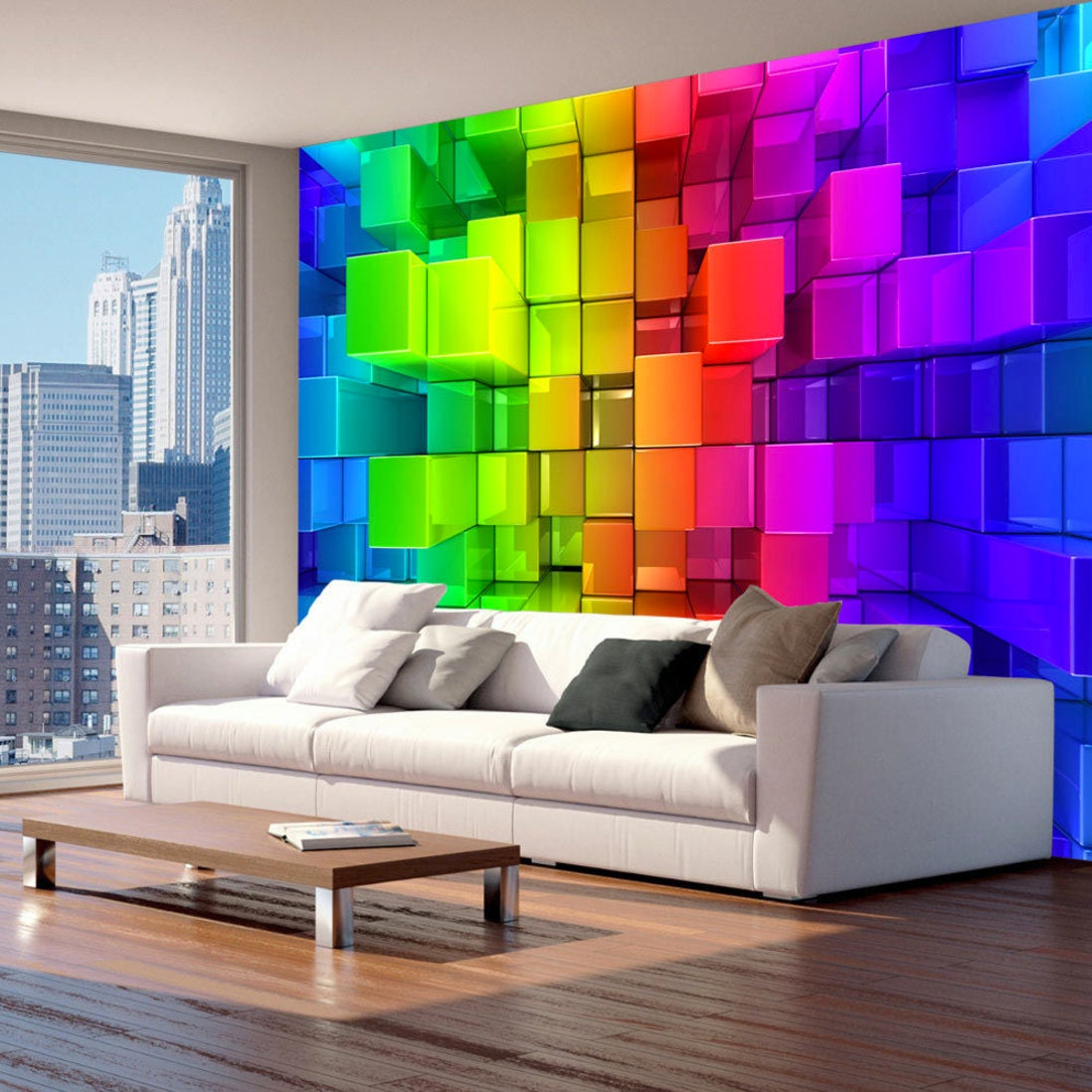 Photo Wallpaper Wall Murals Non Woven 3D Squares Modern Art Optical Illusion Decals Bedroom Decor