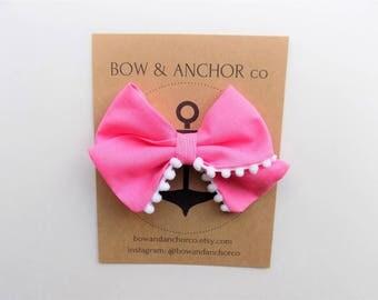 Pink Pom Pom Bow - Pom Pom Hair Clip - Pom Pom Headband - Pink Hair Bow - Pink Hair Clip - Pink Baby Headband - Pink Baby Hair Bow - Pom Bow