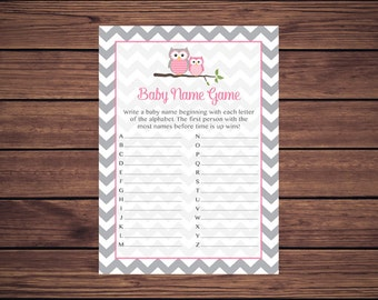 Pink Owl Baby Name Game, Name Game Race, Gray Chevron Instant Download PDF Printable 369