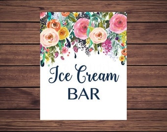 Ice Cream Bar Sign, Floral Bridal Shower Ice Cream Bar Sign, Wedding Ice Cream Bar Sign, Navy Floral Instant Download Printable 88