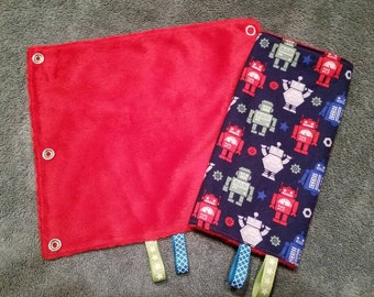 Robot drool pads with red minky
