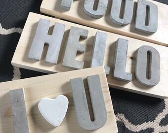 Concrete letter signs