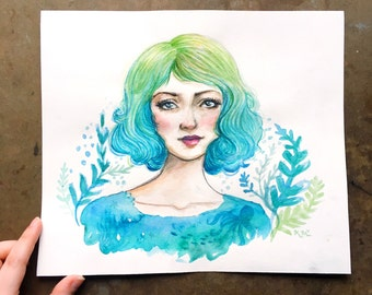 Sea Green Portrait in Watercolor