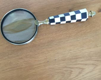 Vintage Magnifying Glass with Two Toned Bone Handle