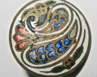 Colorful Cloissonne Button With Flower and Paisleys