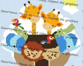 Noah's Ark Crochet Graph Pattern Blanket
