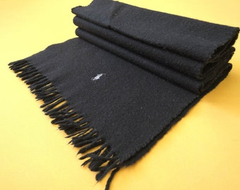 """Polo Ralph Lauren Scarf Lambswool Cashmere Pony Solid Theme Black Vintage Muffler Foulard Shawl Wrap Made In England 57"""" X 12"""""""