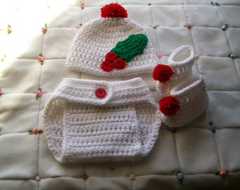 Baby Set Pattern, Baby crochet pattern, Crochet diaper baby pattern, Christmas baby outfit, Photo prop, Crochet pattern, Baby crochet hat