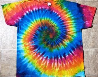 Rainbow Spiral Tie Dye Shirt - Custom Made to Order Tie Dye T-Shirt  - Adult Sizes SM - 3XL - Custom Made Neon Rainbow Tie Dye Shirt