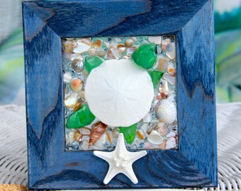 Sea Glass Art of Turtle for Beach Decor, Sea Turtle Art, Beach Decor for Bathroom, Sea Turtle Wall Art, Sea Glass Art, Ocean Wall Art