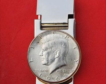 Vintage Stainless Steel 1966 Kennedy Half Dollar Money Clip Coin Silver