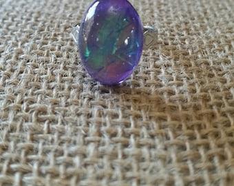 Purple Opal Resin Adjustable Ring