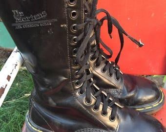 vintage doc martens Air Wair leather black lace up boots boucing soles original England