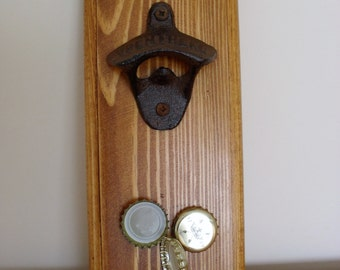 Wall Mounted Bottle Opener with Magnet BEER Bottle Opener Re Claimed Wood Stained & Waxed Gift for DAD BESTMAN Bar Accessory Kitchen Decor