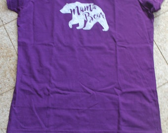 Purple Mama Bear T-Shirt, Vinyl T shirt, Lacy Mama Bear, Mama shilouette of bear, New Mom Gift, Baby Shower Gift, Gifts for Her, Birthday