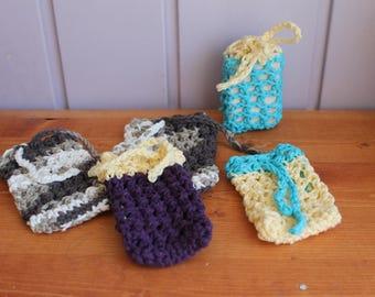 Crochet Soap Saver, Soap wash cloth, Soap Saver, Soap Bag, Soak Sack, Cotton Soap Saver, Soap Loofah, Babay Shower Favour, Housewarming Gift