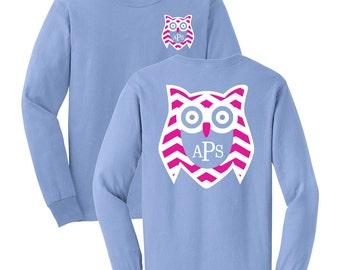 Owl Chevron Monogrammed Long Sleeve T-shirt