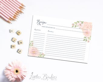 Pink Watercolor Flower Recipe Card - INSTANT DOWNLOAD