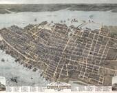 Charleston Vintage Map Art Print, Charleston, South Carolina