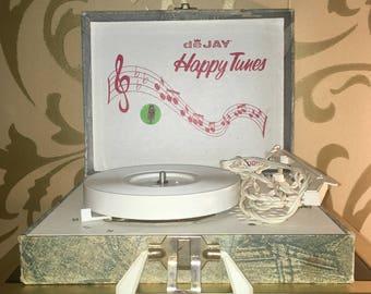 Vintage 1970's Portable Record Player De Jay Happy Tunes Model SP - 11