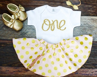 Girl's 1st Birthday Skirt Outfit | Glitter Gold 'One' Top with Pink and Gold Polka Dot Twirl Skirt | Complete Girl's 1st Birthday Set
