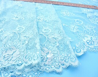 Blue Lace fabric for Shawls, Mantilla, Victorian Gowns, soft  lace  -1meter