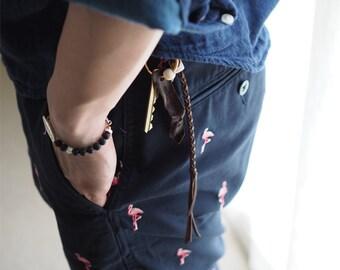 Keychain:  Bayles Keychain - K009 - genuine leather, kangaroo leather, keychain, key holder, leather cord, handmade, accessories, fish hook