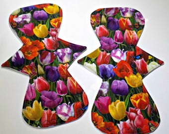 Reusable Cloth Pad/Regular/Moderate 10.95 inch-Symetrical- Tulip- One(1) Pad
