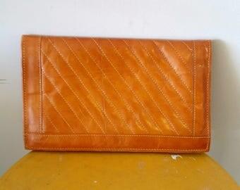 SALE Mondo Tan Leather Clutch Flip Top Style Handbag
