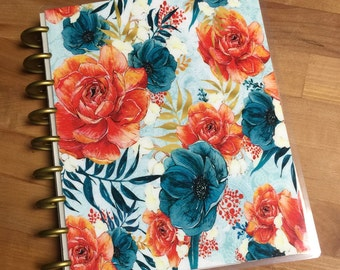 Front and Back Cover Set Burnt Orange Roses for use with Happy Planner