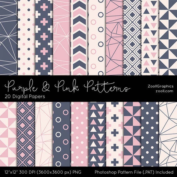 """Purple And Pink Patterns, Digital Paper, 20 Digital Papers (12""""x12""""), Photoshop Pattern File .PAT Included, Seamless, INSTANT DOWNLOAD"""