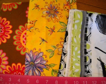 Destash- 3 Cotton Floral Fabric Remnants For Quilting or Crafting