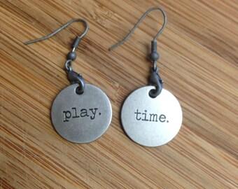 Playful Earrings, Oxidized Silver Jewelry, Charm Jewelry, Simple Earrings, Earrings with Words