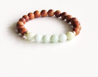 Amazonite Bracelet Yogi Bracelet Sandalwood Bracelet Meditation Bracelet Yoga Bracelet Boho Bracelet Stress Relief Gift