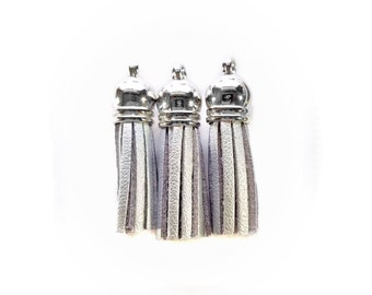 Small Tassels - Silver Tassel Charms - 10 Small, Silver Cap Decorative Tassels for Jewelry - Purse Charm Tassels - Keychain Tassel - TC-S016