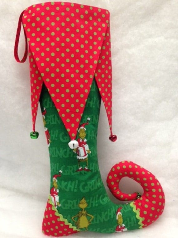 Toenail Christmas Design: Green And Red Elf Toe Christmas Stocking With Bells