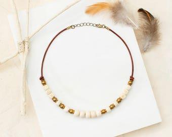 Bohemian choker // bone jewelry // beaded choker // leather choker // rustic jewelry // boho necklace // bohemian jewelry // gifts for her
