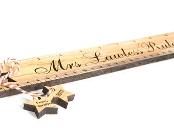 SALE! 20% OFF!! Personalized Teacher Ruler with cut out name tags. Solid Wood Rulers. Natural wood with no paint or stain. End of school